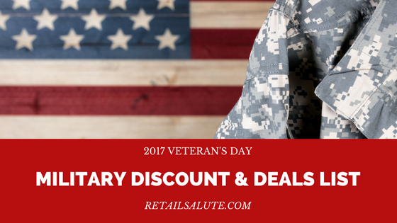 2017 veterans day military discount deals list retail for Restaurants that offer military discount