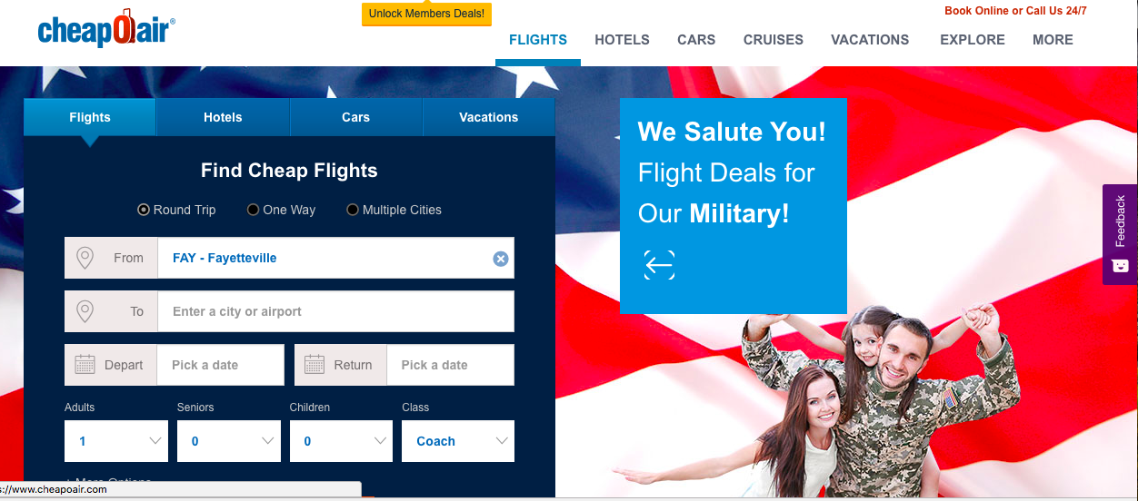Up to $40 off Military Travel At CheapOAir + CashBack
