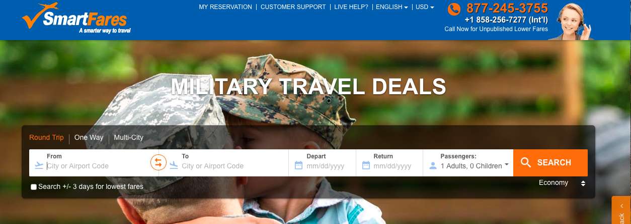 Exclusive 50% Military Travel Sale At SmartFares
